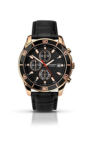 Sekonda Men's Quartz Watch with Black Dial Chronograph Display and Black Leather Strap 1051.27 from Sekonda