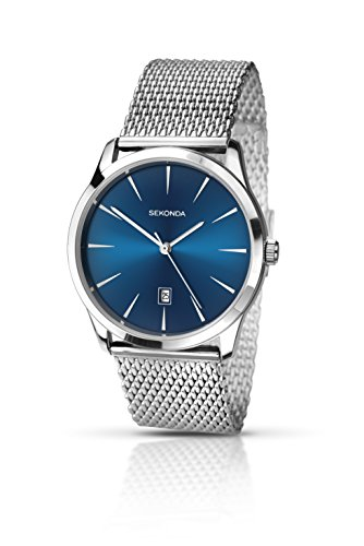 Sekonda Men's Quartz Watch with Blue Dial Analogue Display and Silver Stainless Steel Bracelet 1065.27 from Sekonda