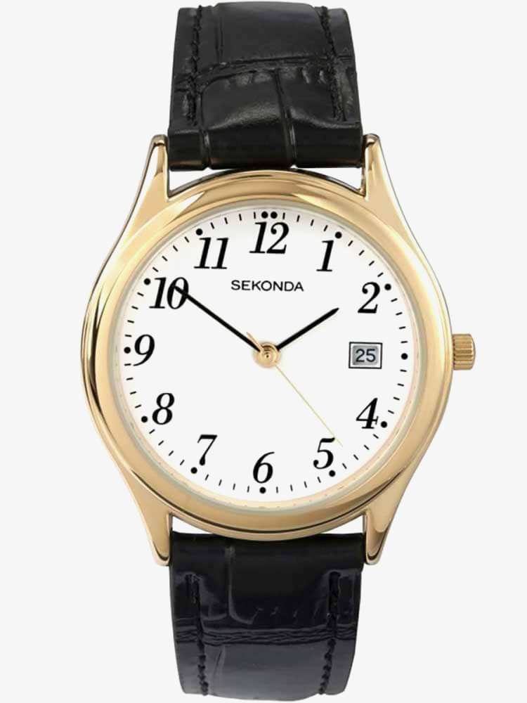 Sekonda Mens Black Leather Strap Watch 3474 from Sekonda