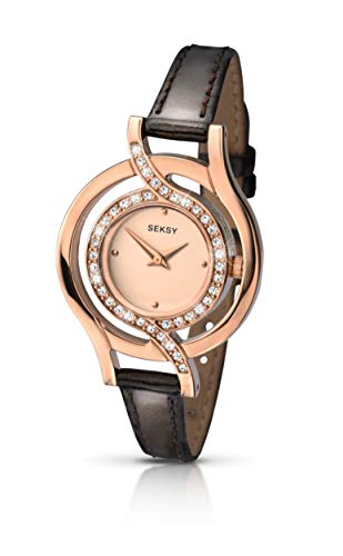 Sekonda Women's Quartz Watch with Rose Gold Dial Analogue Display and Brown Leather Strap 2039.37 from Sekonda
