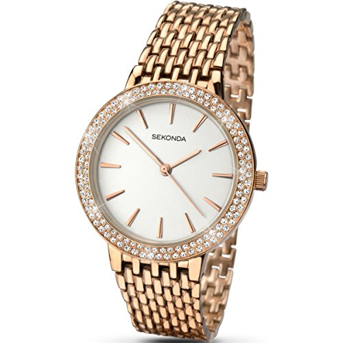 Sekonda Women's Quartz Watch with Silver Dial Analogue Display and Rose Gold Bracelet 2157.27 from Sekonda