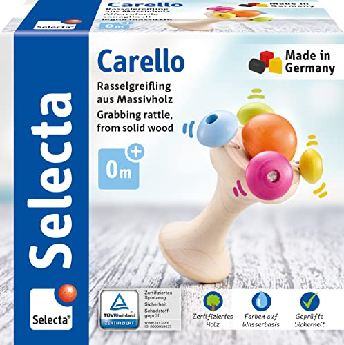 Selecta 61061 Carello, Handle Wooden Grasping Toy, 12 cm, Multicoloured from Selecta