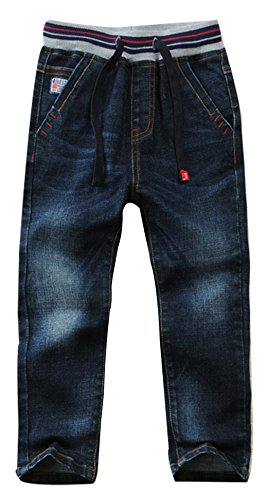 SellerFun Boys Kids Drawstring Elastic Mid Waist Washed Full Length Straight Trousers Denim Jeans (F,4 Years) from SellerFun