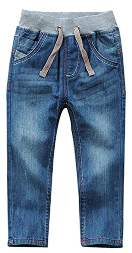 SellerFun Boys Kids Drawstring Elastic Mid Waist Washed Full Length Straight Trousers Denim Jeans (J,10 Years) from SellerFun