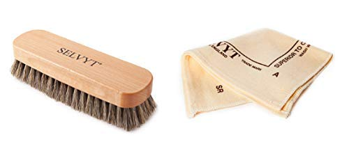Selvyt Horsehair Neutral Buffing Brush and SR Polishing Cloth (SR B Cloth (35x35cm)) from Selvyt