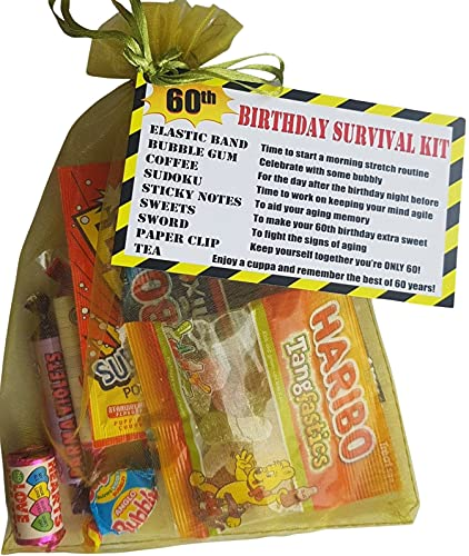 60th Birthday Survival KIT a Dinky Gift/Present - a Fun Cheeky Gift to Make Them Smile. Key Message - 'Have a Cuppa and Remember The Best of 60 Years!' from Send Smiles Miles