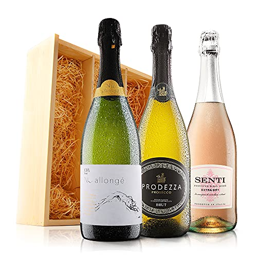 Sendagift by Virgin Wines Cava, Prosecco, Pink Italian Fizz Wine Gift In Wooden Gift Box from Sendagift by Virgin Wines