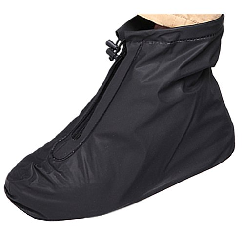 Waterproof Shoe Cover, Reusable Men's Waterproof Cycling Hiking Rain Shoe Covers Lightweight Anti-Slip Overshoes (XL, Black-Short boot) from SevenD