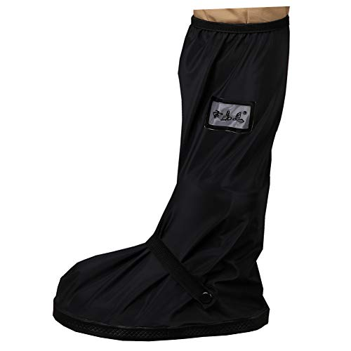 Waterproof Shoe Cover, Reusable Men's Waterproof Cycling Hiking Rain Shoe Covers Lightweight Anti-Slip Overshoes (L, Black-Long boot) from SevenD