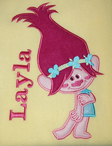 Girls Troll Personalised Super Soft Fleece Blanket. (Lemon) from Sew Sew Special