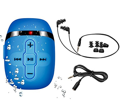 【2018 New Version】 Hifi Sound Waterproof Mp3 Player for Swimming and Running, Underwater Headphones with Short Cord(3 Types Earbuds), Shuffle Feature (Blue) from SEWOBYE