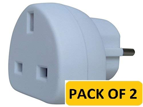 TEC UK Spain, 2 x UK to EU Europe European Travel Adapter suitable for France