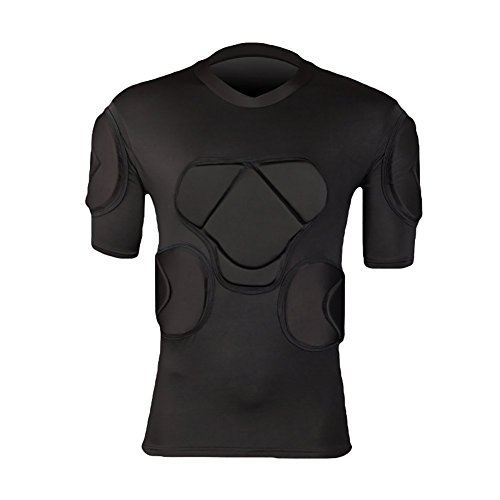 Men's Padded Football Protecitve Gear Set Compression Tops Short Sleeves T-shirt Guard Training Suit Goalkeeper Rib Protector from Sharebeauty