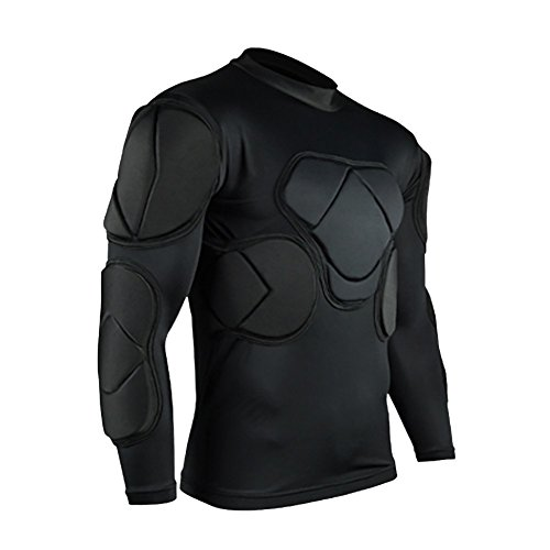Sharebeauty Men's Padded Football Protecitve Gear Set Compression Tops Long Sleeves T-shirt Guard Training Suit Goalkeeper Rib Protector from Sharebeauty