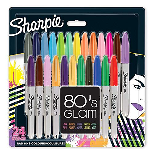 Sharpie Fine Permanent Marker 80's glam, Assorted Colours, Pack of 24 from Sharpie