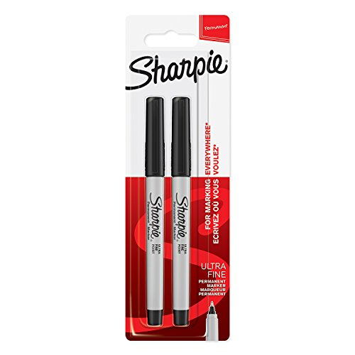 Sharpie Permanent Markers, Ultra-Fine Tip - Black, Pack of 2 from Sharpie