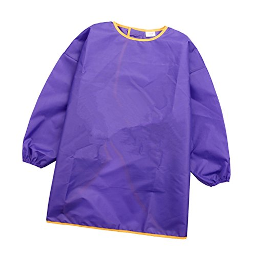 Sharplace Long Sleeve Apron Drawing Painting Sand Tower Smock Kids Children Craft Art S/M/L - Purple, S from Sharplace