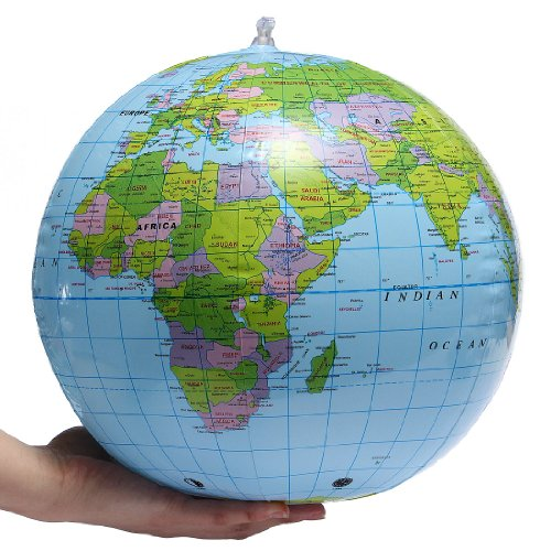 "Inflatable World Globe Earth Map Geography Teacher Aid Ball Toy Gift 38cm/15"" from Shatchi"
