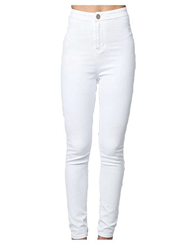 shelikes New Womens Ladies Skinny Slim Fit High Waisted Stretch Denim Black Jeans Trouser-White-UK 8 from shelikes