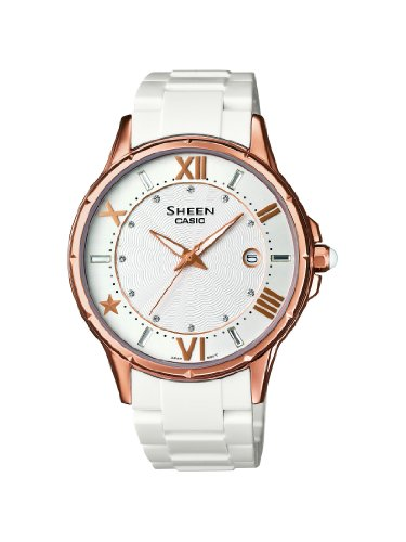 Sheen Women's Quartz Watch with White Dial Analogue Display and White Resin Strap SHE-4024G-7AEF from Casio