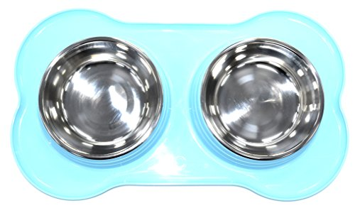 DOUBLE PET FEEDING STAINLESS STEEL BOWL WITH DOUBLE PLASTIC PET FEEDER DOG/CAT/ANY SMALL ANIMAL FOOD/WATER DISH (Blue) from SHINE