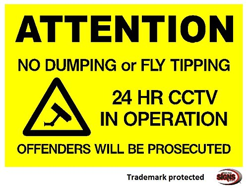 NO FLY TIPPING OR DUMPING - SIGN (Option 1 297x210x3mm PVC) from Shire Oak Graphics