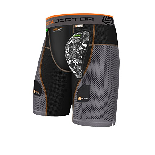 Shock Doctor Men's Aircore Hard Cup Ultra Powerstride Hockey Shorts, Black/Grey, X-Large from Shock Doctor