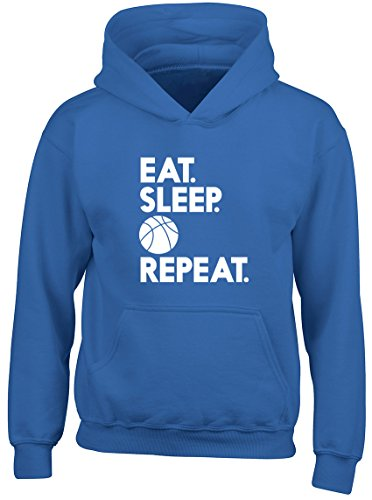 Shopagift Eat Sleep Basketball Repeat Kids Childrens Hooded Top Hoodie Blue from Shopagift