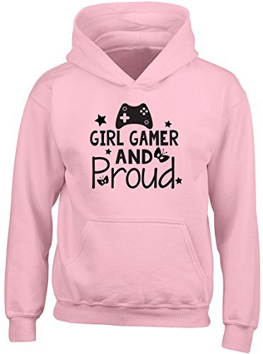 Shopagift Girl Gamer and Proud Kids Childrens Hooded Top Hoodie Pink from Shopagift