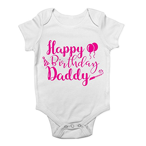Shopagift Happy Birthday Daddy Pink Girls Baby Vest Bodysuit from Shopagift