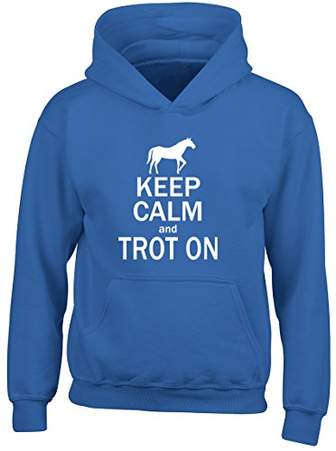 Shopagift Keep Calm and Trot On Horse Kids Childrens Hooded Top Hoodie Blue from Shopagift