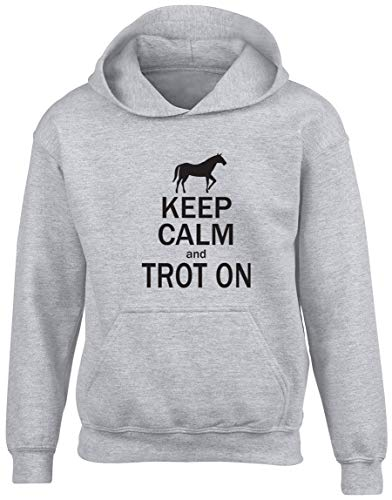 Shopagift Keep Calm and Trot On Horse Kids Childrens Hooded Top Hoodie Grey from Shopagift
