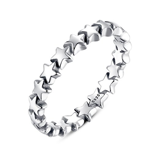 Stars Ring 925 Sterling Silver, Eternity Rings for Teen Girl by Shysnow, Size 6 (L) from Shysnow