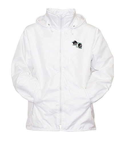 Mens Bowling Jacket Fully Fleece Lined Waterproof Hoodded Jackets Detachable Hood White With Embroidered Logo (Small, White) from Sians Fashions
