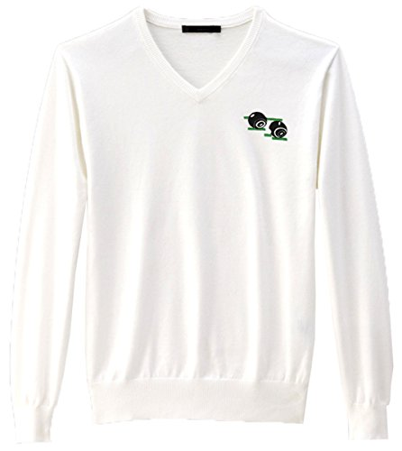 Mens V Neck Bowling Jumper Full Sleeve Actylic Top With Embroidered Bowling Bowls Logo (Medium, White) from Sians Fashions
