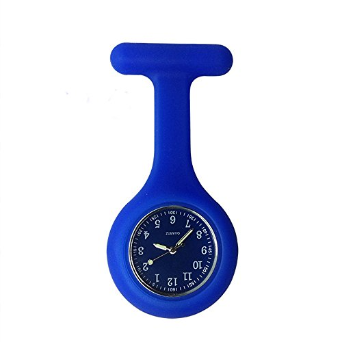 Nurse Watch Brooch, Silicone with Pin/Clip, Glow in Dark, Infection Control Design, Health Care Nurse Doctor Paramedic Medical Brooch Fob Watch (Deep blue) from SibyTech