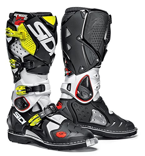 Sidi Crossfire 2 Motorcycle Boot, White/Black/Yellow Fluo, Size 41 from Sidi