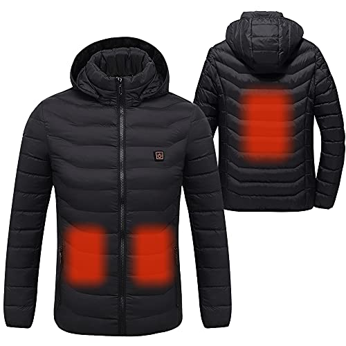 Sidiou Group Electric Heated Jacket Mens and Women Adjustable Temperature USB Heated Clothing Winter Warm Lightweight Cotton Coats Down Jacket Hoodie(Not Include Mobile Power) (Black, X-Small) from Sidiou Group