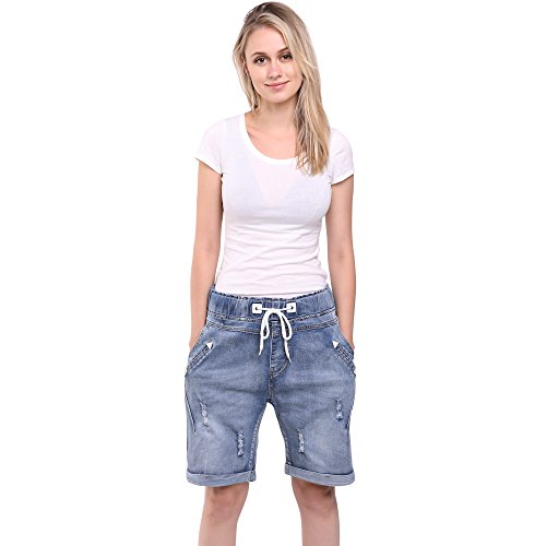 Sidiou Group Plus Size Female Denim Shorts Summer Stretch Slim Holes Denim Shorts for Women Jeans Pants Straight Horse Breeches (2XL 36, Light Blue) from Sidiou Group