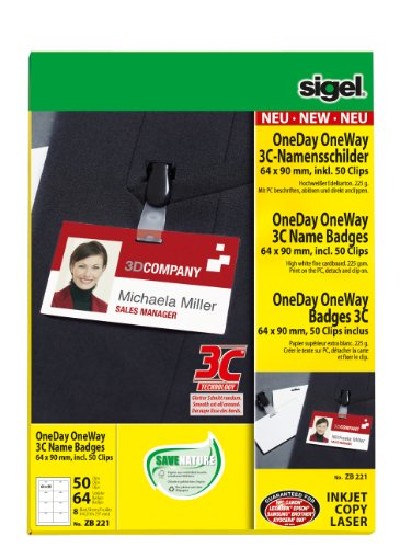 SIGEL ZB221 Name Badge, 6.4 x 9 cm, with 50 clips, white, 64 pcs. = 8 sheets from Sigel