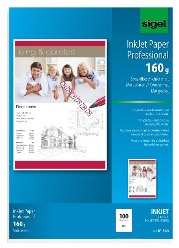 SIGEL IP383 InkJet Paper, coated, white, 160 gsm, A3, 100 sheets from Sigel