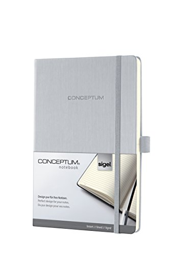 SIGEL CO653 Notebook, approx. A5, lined, hardcover, elastic fastener, light grey - Conceptum from Sigel