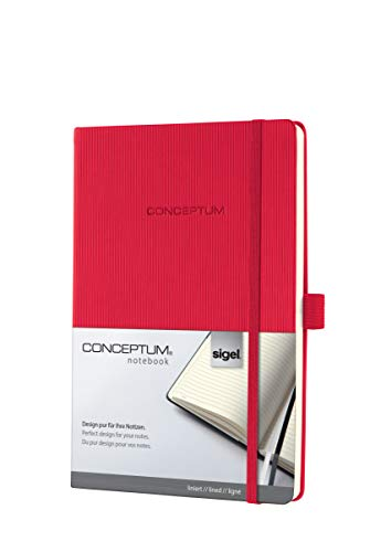 SIGEL CO655 Notebook, approx. A5, lined, hardcover, elastic fastener, red - Conceptum from Sigel