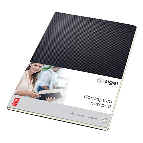 SIGEL CO800 Notepad, approx. A4, squared, hardcover, black - Conceptum from Sigel