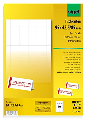 SIGEL DP046 Tent Cards, 9.5 x 4.2 cm, 20 sheets = 80 pcs. from Sigel