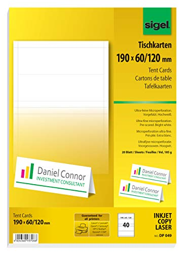 SIGEL DP049 Tent Cards, 19 x 6 cm, 20 sheets = 40 pcs. from Sigel