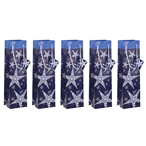 "SIGEL GT027 Christmas Bottle Gift Bag ""Shining Stars"", 10 x 35 x 8 cm, 5 pcs. from Sigel"