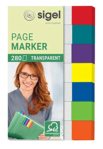 SIGEL HN677 Transparent Index Page Markers, 7 x 40 Strips, red/Mint/Orange/Violet/Blue/Yellow/Green from Sigel