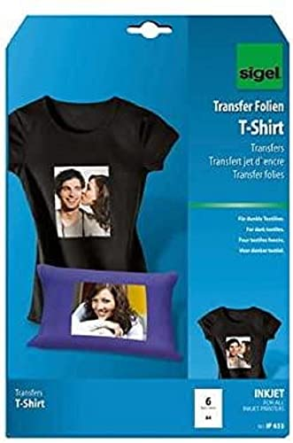 Sigel IP653 Inkjet T-Shirt Transfer for Dark Textiles, A4, 6 Sheets from Sigel