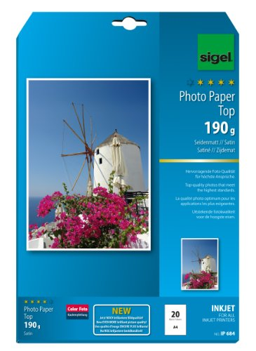 SIGEL IP684 Inkjet Top Photo Paper, Satin, White, 190 GSM, A4, 20 Sheets from Sigel